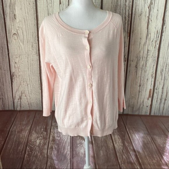 Ann Taylor loft pink button-down cardigan  large